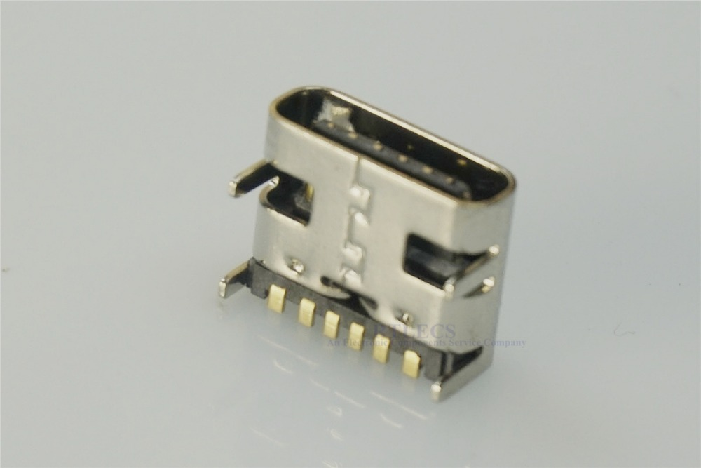 1000 pcs Tape&Reel USB 3.1 Type C Connector 6 Pins Receptacle Power Charge 3A 30V Rated Shield USB-C Support Pins Through Hole