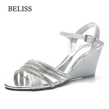 BELISS 2019 Fashion Wedges Shoes For Women High Heels Summer Ladies Sandals Buckle Strap Open Toe Casual Flats Woman Sandals S69 стоимость