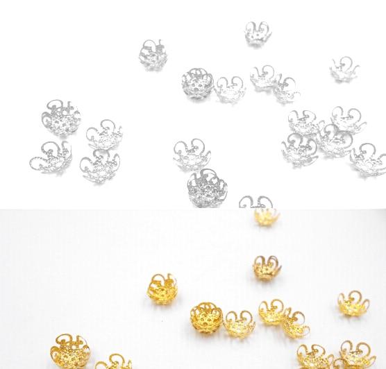 Новый 100 шт./200 шт./лот высокое качество, поступления 2016 г. DIY Золото/Посеребренная полые цветок из металла Талисманы шарик крышки для ювелирных изделий делая 10 мм