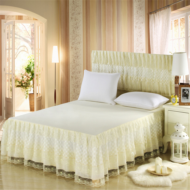 Hot sale bed skirts yellow pink beige purple princess lace <font><b>mattress</b></font> cover twin full queen king <font><b>size</b></font> bedding