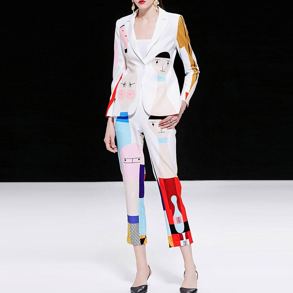 KoHuiJoo Runyway Vestito di Pantaloni di Modo Delle Donne Rappezzatura Del Fumetto di Stampa High Street A Manica Lunga Giacca Sportiva e Pantaloni Set 2 Pezzi - 3