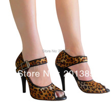 New Women Leopard Satin Ballroom font b Dance b font Shoes Salsa Latin Heels Shoes Bachata