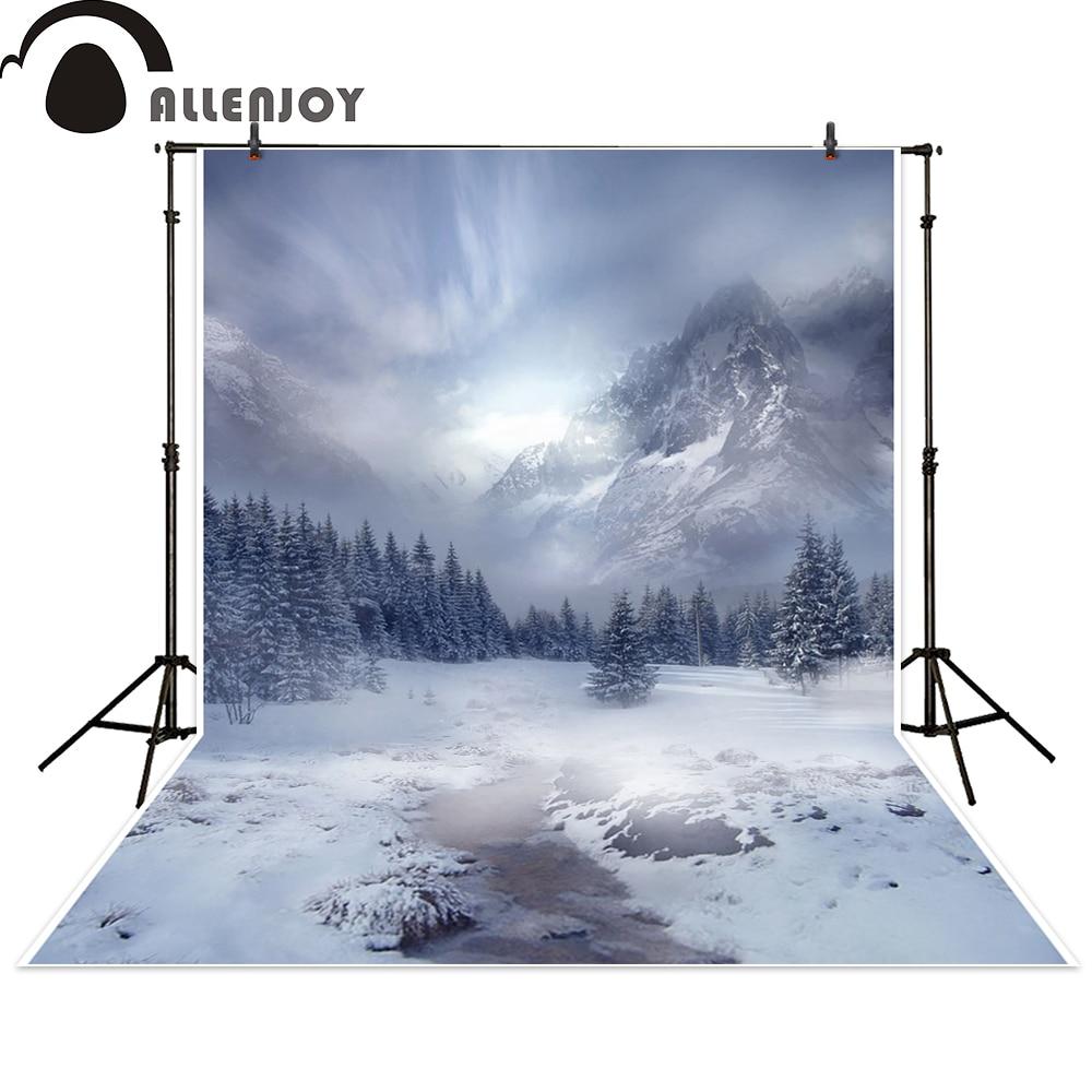 Allenjoy background winter snow white tree sky mountain backdrops photocall photographic photo studio photobooth