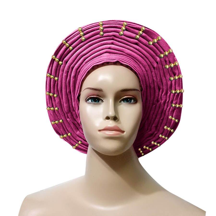 Already Made Head Wrap Ladies Hat With beads auto gele headtie aso oke gele