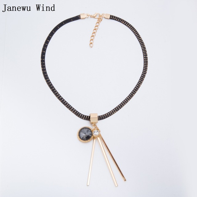 Janewu wind snake chain metal strip round crystal pendant choker janewu wind snake chain metal strip round crystal pendant choker necklace women high quality cooper chain mozeypictures Gallery