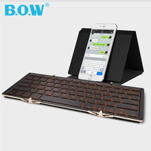 B.O.W Backlight Foldable Mini Wireless Bluetooth 3.0 Keyboard Ergonomic Aluminum Shell for iPad Surface Smartphone tablets PC