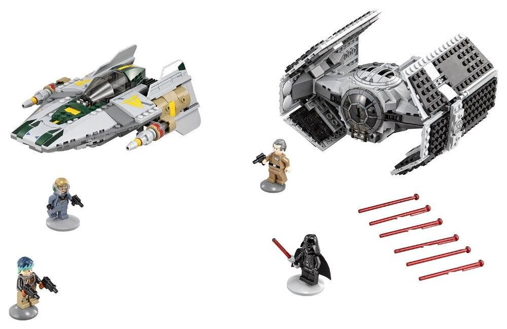 ФОТО LEPIN Star Wars TIE Advanced vs. A-Wing Starfighter Figure Toys Model Building Blocks set Marvel  Compatible Legoe