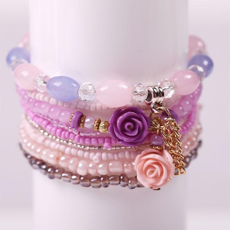 2017 Charm Multilayer Candy Crystal Beads Flower Shell Bracelets Bangles Bracelets for Women