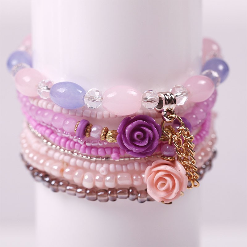 Multilayer Permen Warna Kristal Beads Gelang Set Untuk Wanita - Perhiasan fashion - Foto 2