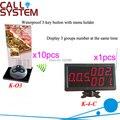 Беспроводная система вызова для ресторана 433 МГц с 10 настольными кнопками вызова и 1 цифровым дисплеем Бесплатная доставка DHL