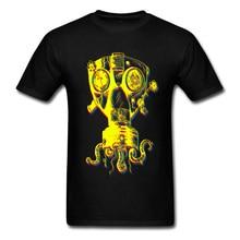 100% Cotton Tops Tees Mens T-Shirt Just Breathe T Shirt Octopus Gas Mask Print Tshirt Grunge Rock Black Yellow Clothes Hip Hop