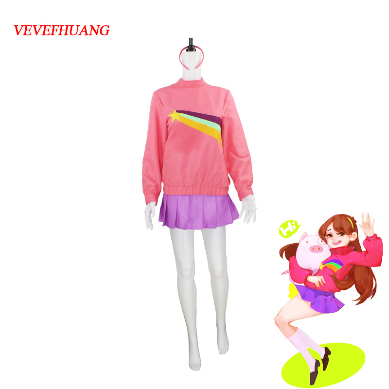VEVEFHUANG Gravity Falls Mabel Pines Cosplay Costume  Halloween Carnial Cosplay Costume For Women