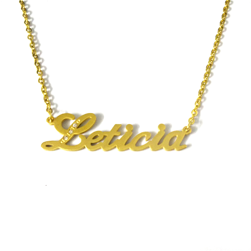 "FairLadyHood Personalize Custom Name Necklace Beauty Dainty Gold Choker Necklace Letter Necklaces ""Leticia"" Pendants Necklace"