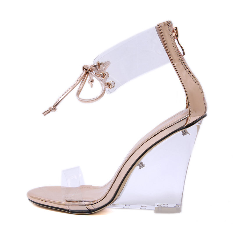Women Shoes Sandals Sexy Transparent Heels11cm Wedges Shoes For Women Ankle Strappy Clear Sandals Womens Wedges Summer High Heel