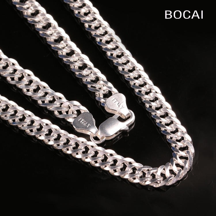 все цены на S925 sterling silver Europe and the United States fashion sideways whip necklace men clavicle chain