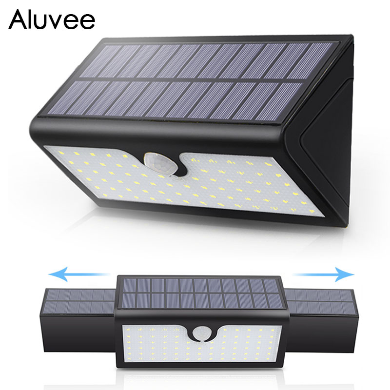 Stretchable IP65 Waterproof Led Solar Lights SMD2835 Solar Lamp PIR Motion Senser 58/71 LEDS Wall Garden Lights ALUVEE