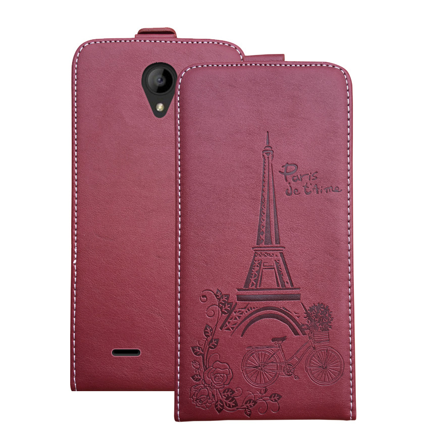 Embossed Pairs towel up and down pu leather flip case Flip Cover Open Phone Bags for Digma Hit Q400 3G