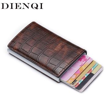 566be74d1 DIENQI Anti id titular de la tarjeta de crédito Rfid bloqueo billetera  cuero titular de la