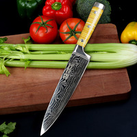 SUNNECKO 8'' inch Chef's Knife Hand made Shell Handle High Carbon Steel Laser Pattern Blade Kitchen Knives Chef Cooking CutTool