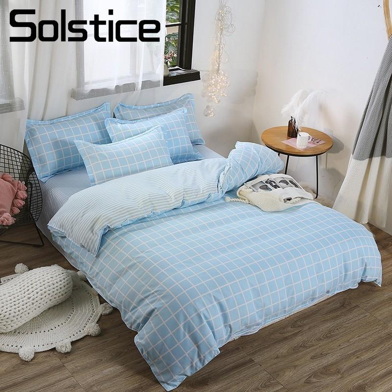 Solstice Home Textile Blue Stripe Plaid Simple Bedding Sets Duvet Cover Pillowcase Flat Sheet Boy Kid Child Girl Adult Bed Linen