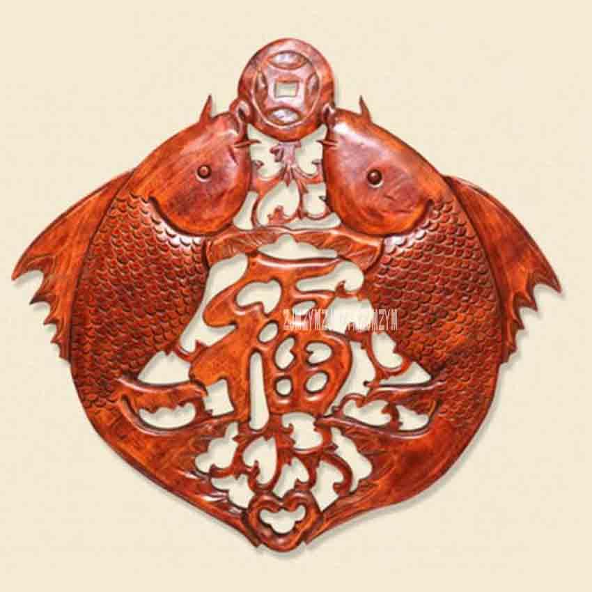 Nouveau HJ-YS397 sculpture sur bois rétro pendentif Style chinois décoration meubles anciens camphre bois Double poisson bénédiction tenture murale