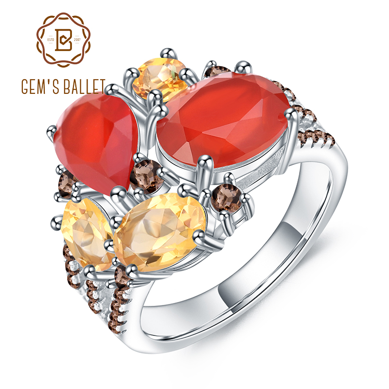 GEM'S BALLET Natural Red Agate Citrine Rings Fine Jewelry 925 Sterling Silver Gemstone Vintage Ring For Women Bijoux