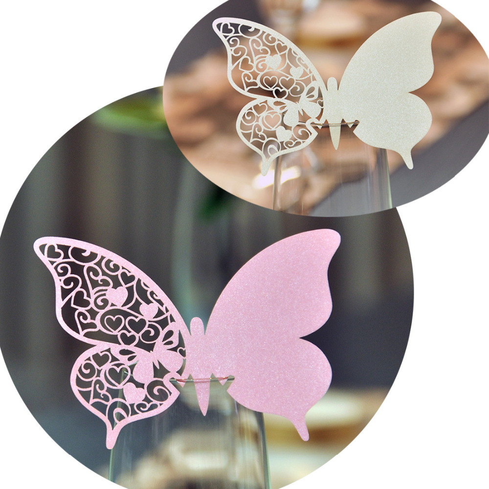 10pcs White Pink Butterfly Wine Glass Cup Paper Card For Wedding Party/Table Decoration/Home Decor Name Place Cards