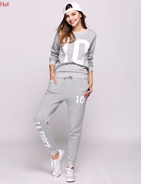 Spring Women 2Pcs Sets Hoodies Number Letters Printed Sweatshirt Sweat Pants Trousers Clothing Sets Fashion Casual Outwear Suit 3