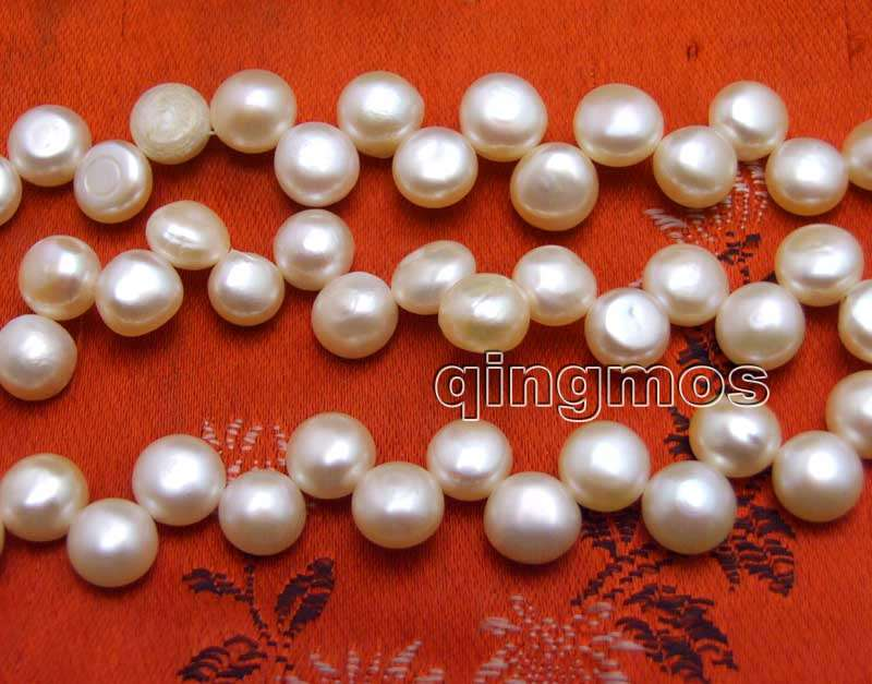 Generous 7-8mm Pink Flat Round Side Drilled Natural Freshwater Pearl Loose Beads Strand 14-los770 Wholesale/retail Free Shipping Agreeable Sweetness Beads Jewelry & Accessories