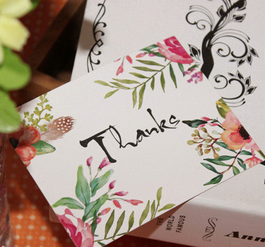 500pcs Mini thanks Card flower style leave message cards Lucky