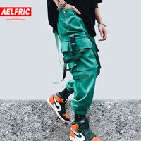 Aelfric Fashion Ribbon Pocket Buckle Patch Hip Hop Streetwear Pants Women Removable Bag Personality Cool Casual Harajuku Joggers