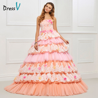 Dressv Strapless Ball Gown Quinceanera Dress Pink Lace Up Appliques Tiered Sweet 16 Dress Flowers Fashion