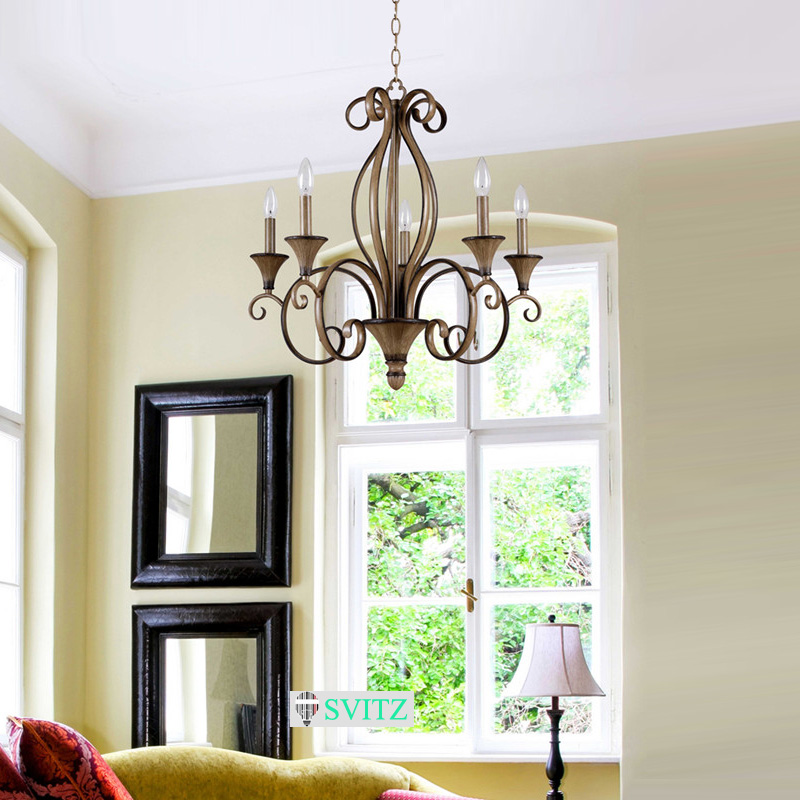 Teak Color Five Cand Led Chandeliers European American Export Lamp Decoration Bedroom Light Chandelier Lighting