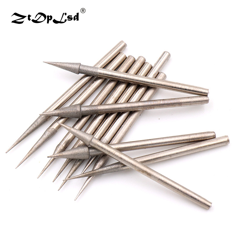 ZtDpLsd 1Pcs 2.35MM Shank Pointed Steel Diamond Grind Needle Head Cutter Jade Carve Precision Engrave Rotary Spherical Burr Tool