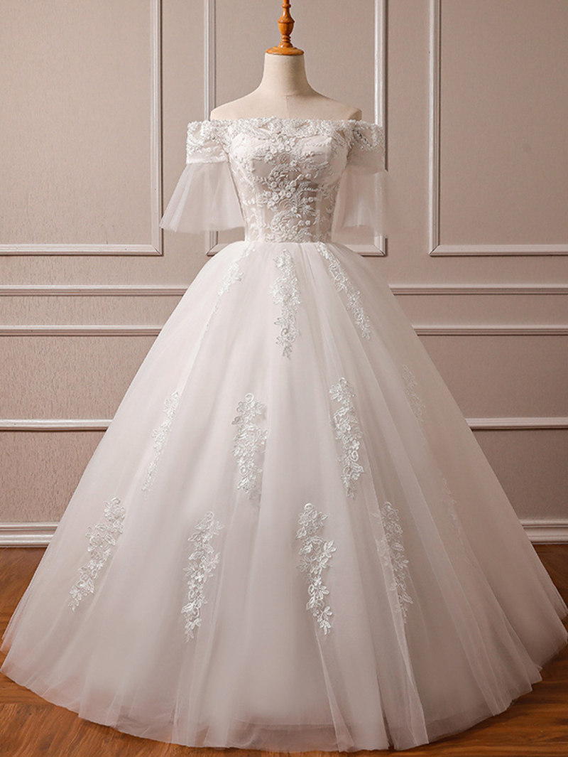 Sequined Lace Beads Pearls Embroidery Wedding Dresses For Bride Luxury Dress Designers Brand 2019 Gown Plus Size Customer Made