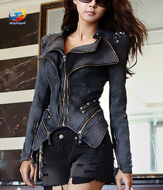 6c8ff2628c78 Tenglongwl Original Women s Sharp Power Punk Studded Shoulder Rivets  Motorcycle Notched Lapel Denim Jeans Tuxedo Coat Jacket Out