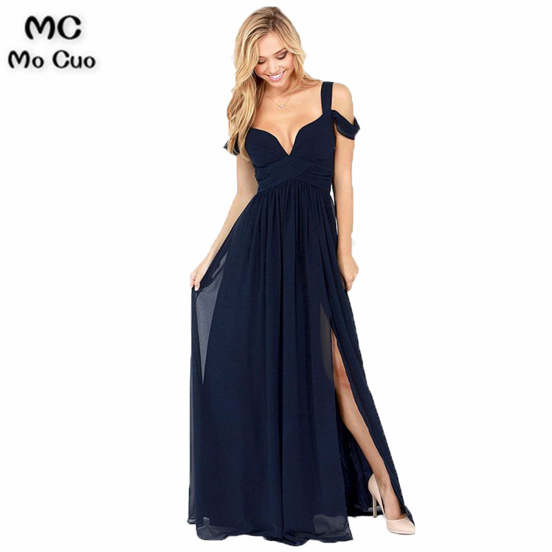 Sexy 2018 Cheap   Bridesmaid     Dress   Wedding Party   Dress   Maid of Honer Chiffon Pleated Dark Blue Formal   Bridesmaid     Dresses