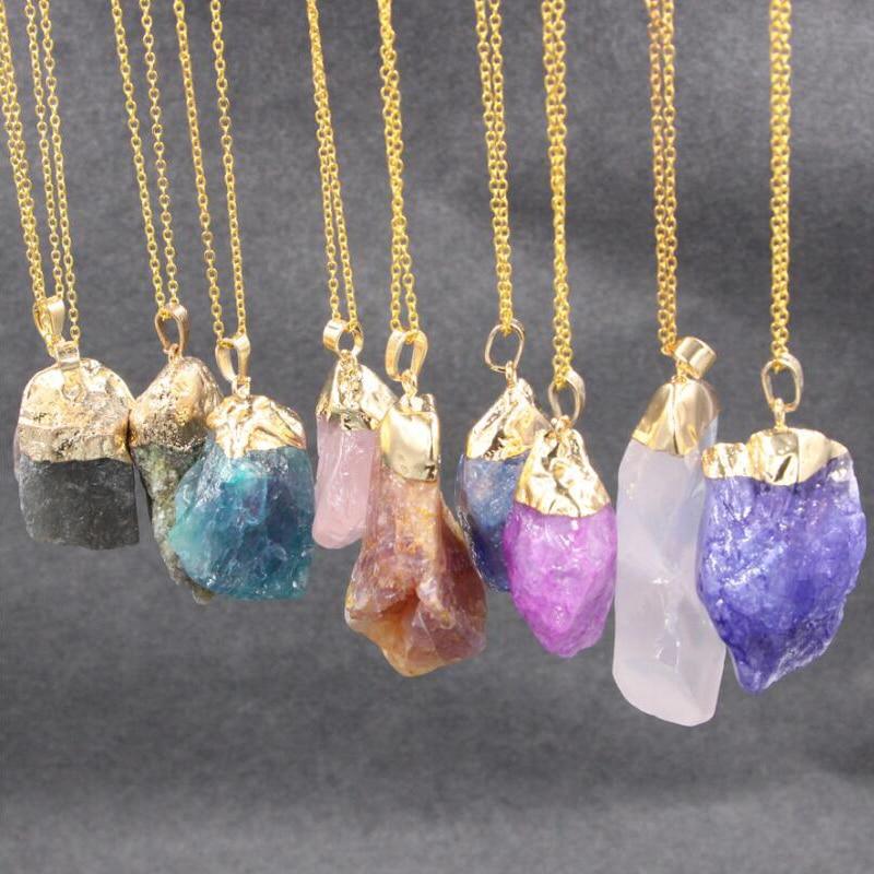 Sue Phil nouveau design de mode pendentif en pierre colliers Ethniques irrégulière pierre lien chaîne bijoux drop shipping