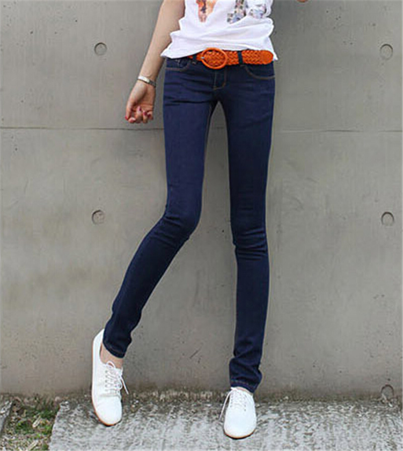 Mainland Plus Size 26-31 Women Trousers 2016 Summer Style Women Denim Washed Mid Waist woman Jeans Female Pencil skinny Jeans
