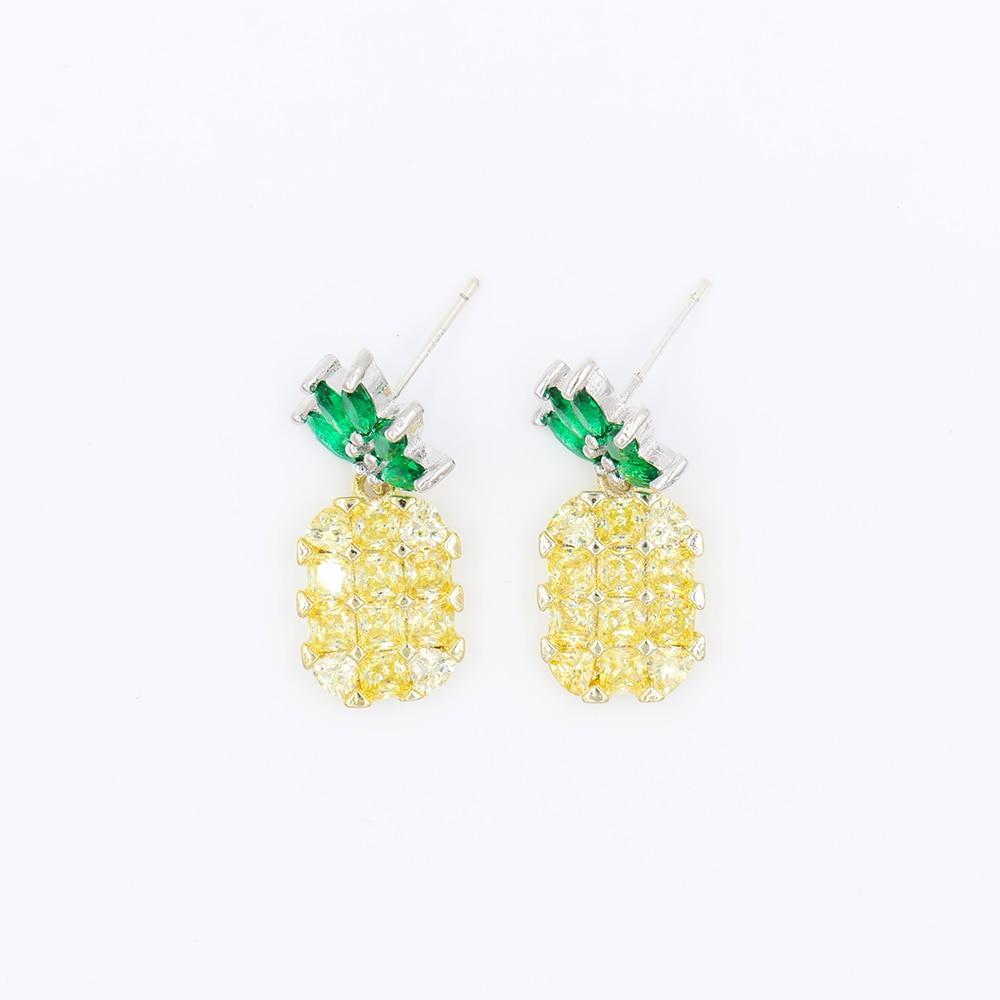Female Pineapple Earrings Crystal 925 Sterling Silver Party Wedding Stud  Earrings For Women Fashion Jewelry