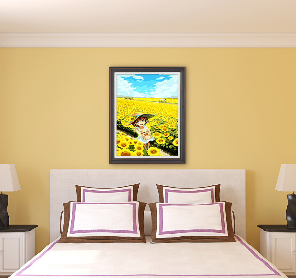 Framed sunflower Landscape DIY Painting By Numbers Home Decoration Hand painted Oil Painting On Canvas Wall Art Picture 31038-in Painting & ...