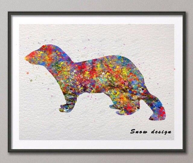 Diy Original Ferret Watercolor Canvas Painting Animal Wall Art