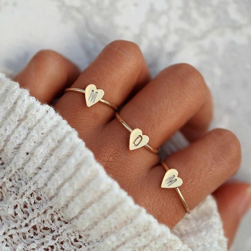 Персонализированные ручные штампованные A-Z, 26 букв, начальные крошечные кольца в виде сердца для женщин, золотые кольца на палец, ювелирные изделия, оптовая продажа