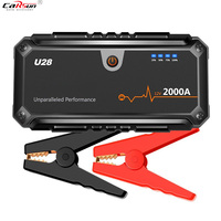 CARSUN U28 2000A Peak Jump Starter Pack Portable Power Bank LED Flashlight Smart Battery Clamps For