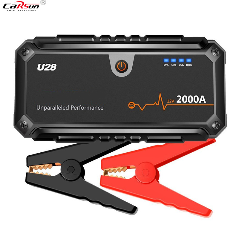CARSUN 2000A Peak Jump Starter Pack Portable Power Bank LED Flashlight Smart Battery Clamps For 12V Car Boat