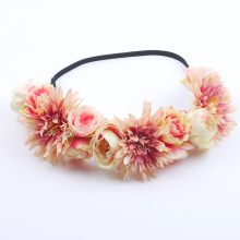 Women Hair Accessories Wedding Bride Floral Garland Christmas Flower Headband Festival Rose Flowers Hair Band elastic hair bands цены онлайн