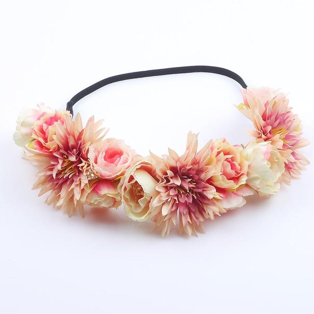 Women Hair Accessories Wedding Bride Floral Garland Christmas Flower  Headband Festival Rose Flowers Hair Band elastic 24bcc7a03074