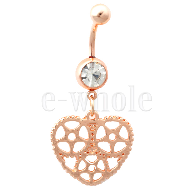 Rose Gold Hollow Heart Love Dangle Belly Ring Navel Piercing 14G