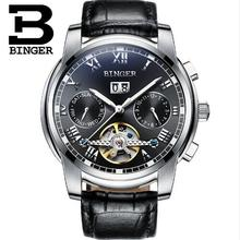 BINGER Men Watch Tourbillon Automatic Mechanical Watches men s luxury fashion brand leather strap business casual