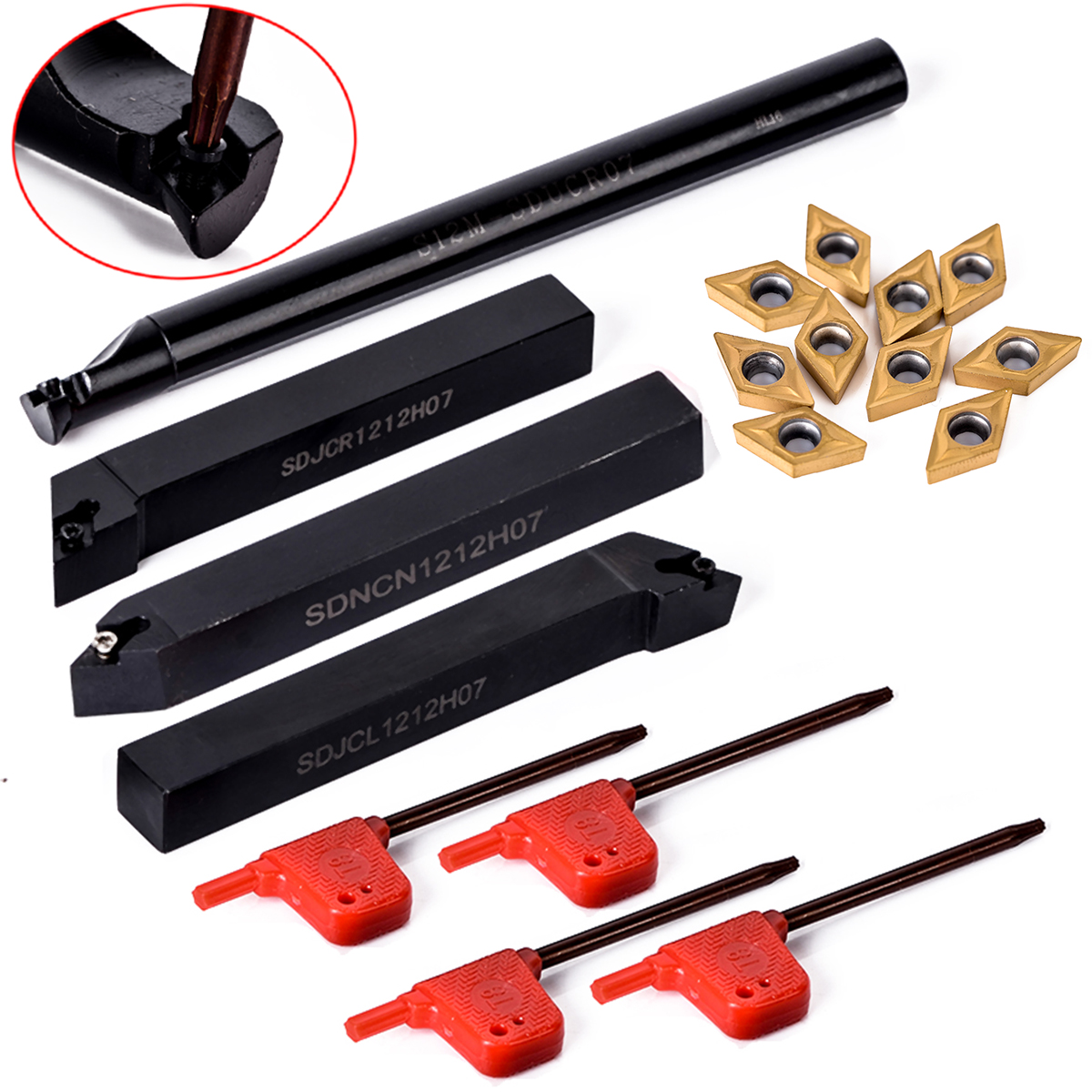 10pcs DCMT070204 Carbide Insert + 4pcs 12mm Boring Bar Tool Holder + 4pcs Wrench For Lathe Turning Tool